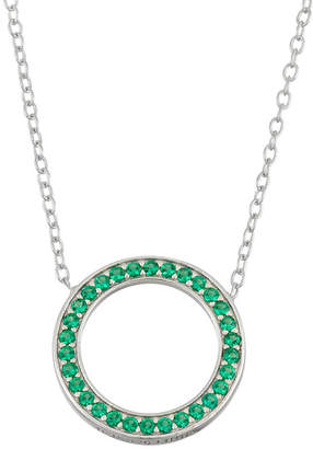 FINE JEWELRY Simulated Emerald Sterling Silver Circle Necklace