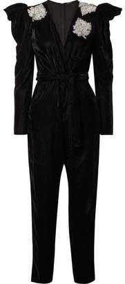 Dodo Bar Or - Madison Crystal-embellished Velvet Jumpsuit - Black