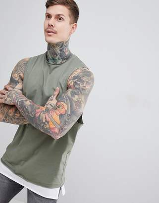Asos DESIGN tank with dropped armhole and contrast layer in green