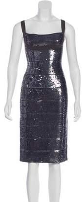 Herve Leger Sequined Knee-Length Dress