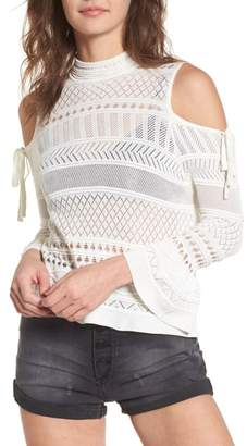 LIRA Annabel Cold Shoulder Pointelle Sweater