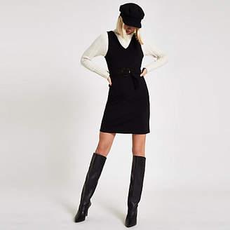 River Island Black belted V neck mini dress