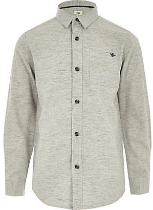 River Island Boys grey long sleeve herringbone shirt