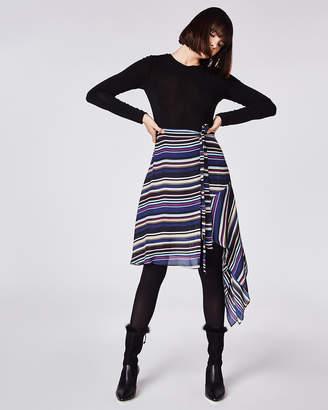 Nicole Miller Flight Stripe Asymmetrical Skirt