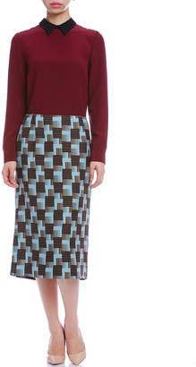 Marni (マルニ) - MARNI シルク混 幾何学プリント セミタイトスカート ブルーマルチ 38