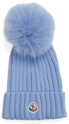 Moncler Genuine Fox Fur Pom Wool Beanie