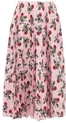 Valentino Rose Printed Pleated Silk Midi Skirt - Womens - Pink