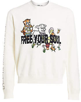 McQ Men's Free Your Soul Embroidered Graphic Sweater