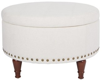 Office Star AVE SIX by Products Alloway Storage Ottoman in Linen Fabric with Antique Bronze Nailheads