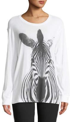 Norma Kamali Long-Sleeve Crewneck Zebra-Print Cotton Tee