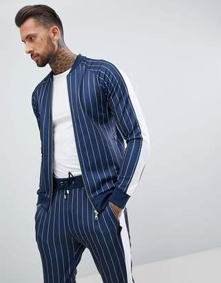 Couture The Club muscle fit track top in pinstripe with side stripe