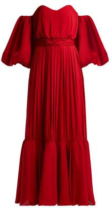 Johanna Ortiz Senora Maria Rosa Silk Georgette Gown - Womens - Red
