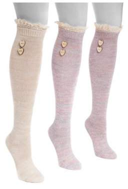 "Muk Luks Women's Lace Top Knee High Socks 7"" x 3.25"""