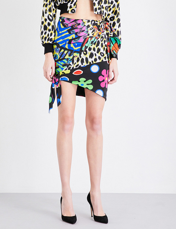 MoschinoMOSCHINO Printed silk-twill mini skirt
