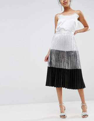 Asos Color Block Metallic Pleated Midi Skirt