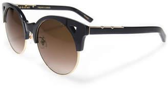 E.m. Pared Eyewear Up and At Semi-Rimless Round Sunglasses, Black/Gold