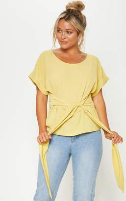 PrettyLittleThing Pale Olive Short Sleeve Belted Top