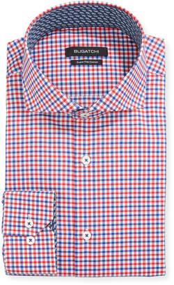 Bugatchi Men's Check Dress Shirt w/ Contrast Reverse