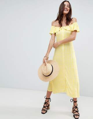 Asos Design Off Shoulder Button Through Midi Sundress In Gingham