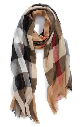 Burberry Brit Sheer Mega Check Scarf $395 thestylecure.com