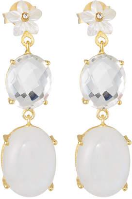 Indulgems Drop Earrings w/ Flower, White