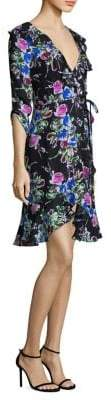 Milly Audrey Floral Silk Wrap Dress
