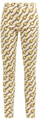 Gucci Stirrup Print Stretch Cotton Blend Skinny Jeans - Womens - Ivory Multi