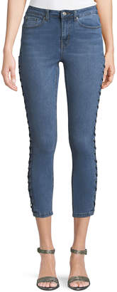Dex Lace-Up Side Super-Skinny Crop Jeans