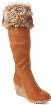 Wild Diva Lounge Chestnut Selina Faux Fur-Cuffed Wedge Boots