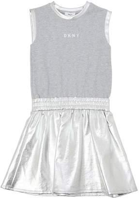 DKNY Cotton Interlock & Faux Leather Dress