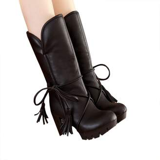 Susanny Soft Leather Chunky High Heel Antiskid Tassel Strappy Mid-Calf Women's Winter Riding High Boots 11 B (M) US
