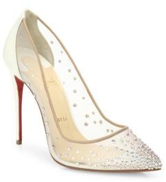 Christian Louboutin Follies Crystal & Mesh Point Toe Pumps $1,195 thestylecure.com