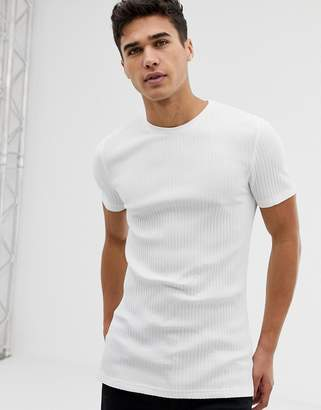 81cde7b5 Asos Design DESIGN muscle fit crew neck t-shirt with stretch in rib in white