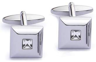 clear Code Red Men's Base Metal Rhodium Plated Low-Dome Square Cufflinks with One Square Crystal