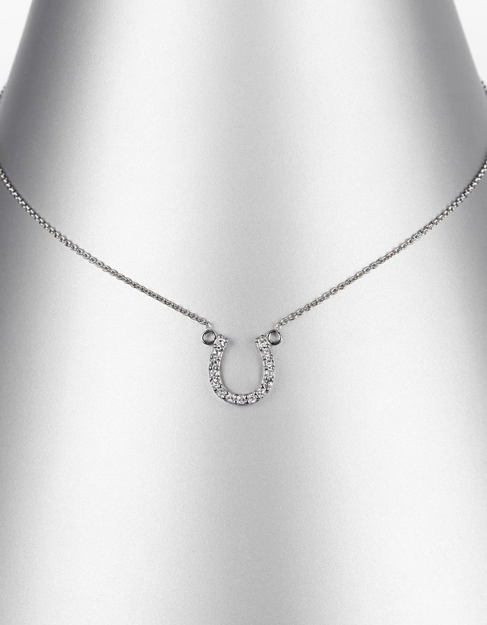 LORD & TAYLOR Sterling Silver Cubic Zirconia Horseshoe Pendant Necklace
