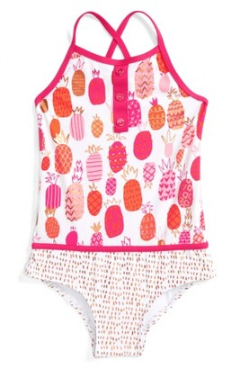 Girl's Hatley Tropical Pineapples One-Piece Swimsuit $38 thestylecure.com