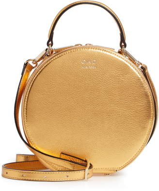 OAD New York Mini Circle Pebbled Leather Satchel