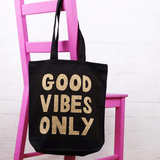 Nell Elsie & 'Good Vibes Only' Cotton Tote Bag