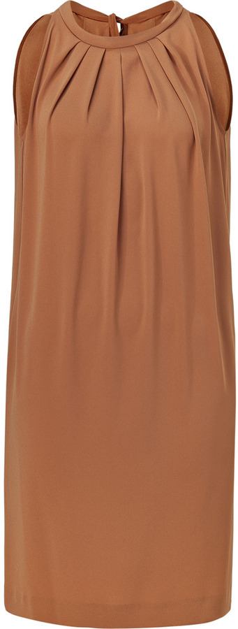 Tara Jarmon Soft Nougat Pleated Neck Dress