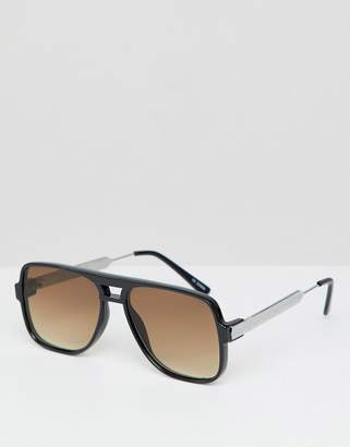 Spitfire Square Sunglasses In Black With Brown Lens