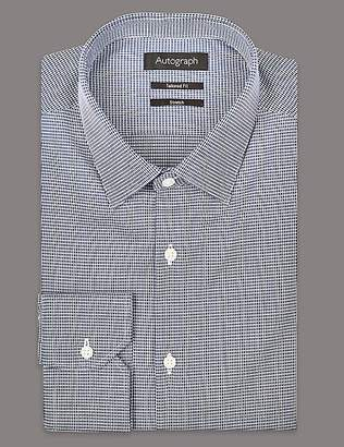 Marks and Spencer Cotton Rich Tailored Fit Shirt With Stretch