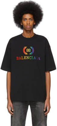 Balenciaga Black Rainbow BB Regular Fit T-Shirt
