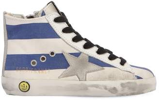 Golden Goose Francy Stripes Canvas High Top Sneakers