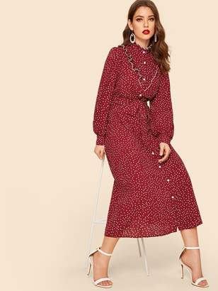 Shein Polka Dot Ruffle Trim Self Belted Shirt Dress