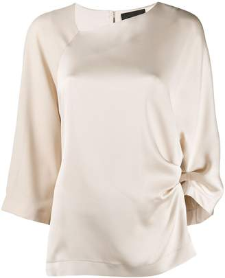 Cavallini Erika satin draped blouse