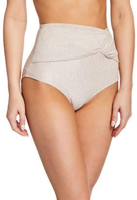 d453d68c81fc4 Jonathan Simkhai Metallic Twist-Front High-Waist Bikini Bottom