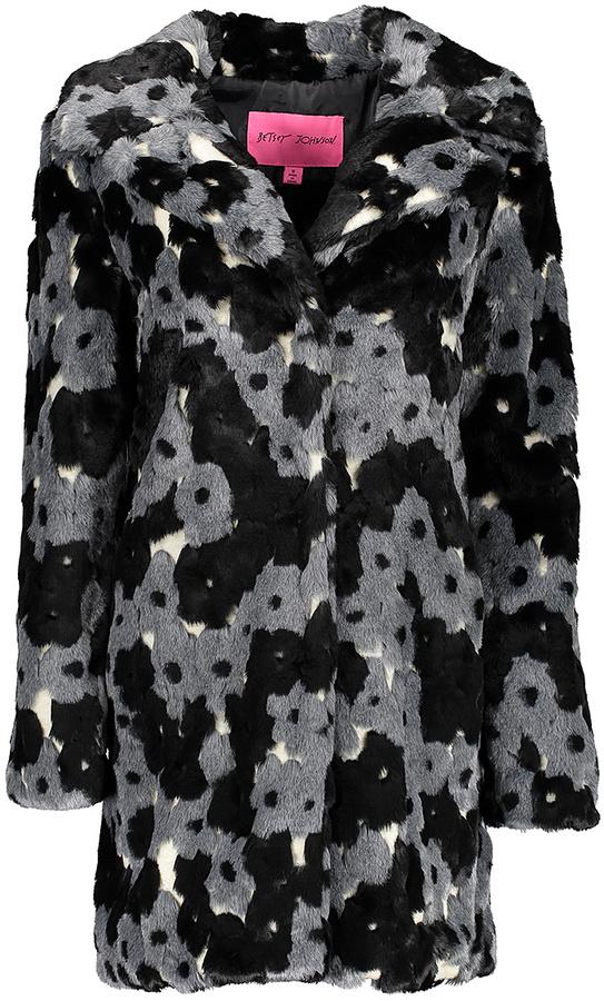 Betsey JohnsonBlack & Gray Floral Faux Fur Coat