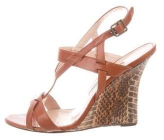 Manolo Blahnik Leather Wedge Sandals