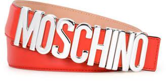 Moschino Metal Logo Adjustable Leather Belt