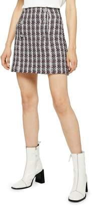 Topshop Metallic Thread Plaid Boucle Miniskirt